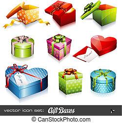 cajas, vector, set:, regalo