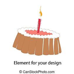 cake., cupcake, festive., uno, background.., cumpleaños, ilustración, vector, blanco, birthday., pastel, candle., aislado