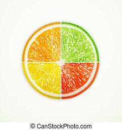 cal, naranja, toronja, limón, dividir en cuatro