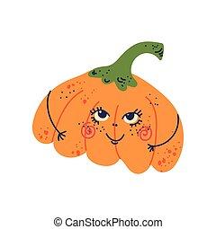 Calabaza linda con cara graciosa, adorable dibujo animado de dibujos animados de personaje vegetal ilustración