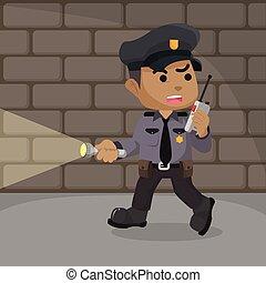 calabozo, policía, patrullar, africano