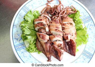 calamar, ajo, pepper., profundo frito