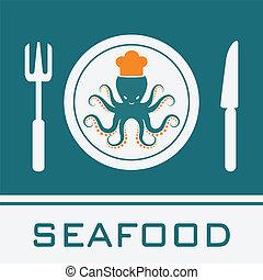 Calamar, tenedor, cuchillo, icono, señal de restaurante