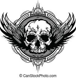 Calavera con alas y imagen de vector gráfico de la tribu