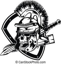 Calavera en casco legionario