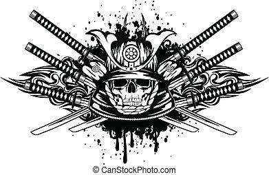 Calavera en casco samurai y cruzó espadas samurai