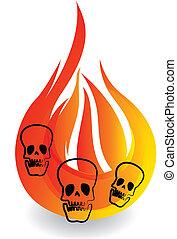 Calaveras y llamas logo