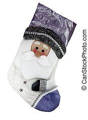 Calcetines de Navidad con Santa Claus aislados