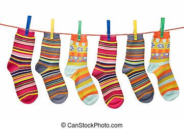Calcetines en la línea de ropa