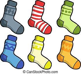 calcetines, garabato, conjunto