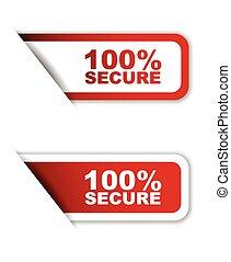 Calcomanías de papel de vector rojo 100% seguras