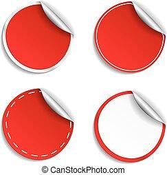 Calcomanías redondas rojas
