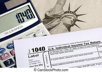Calcula los impuestos en la declaración de impuestos