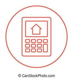 Calculador con casa en pantalla icono.