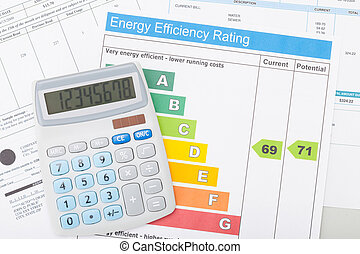Calculador con factura de utilidad y gráfico de eficiencia de energía