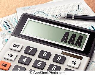 Calculador con la palabra AAA