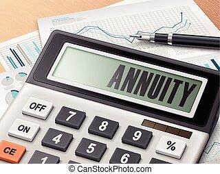 Calculador con la palabra anualidad