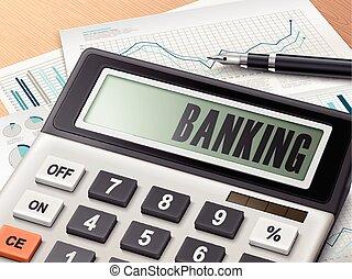 Calculador con la palabra banca