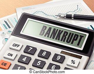 Calculador con la palabra bancarrota
