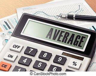 Calculador con la palabra promedio