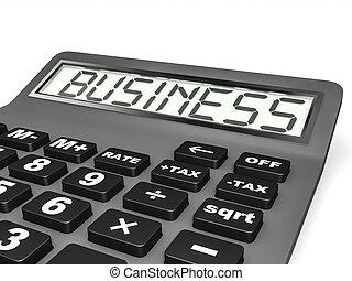 Calculador con negocios en exhibición.