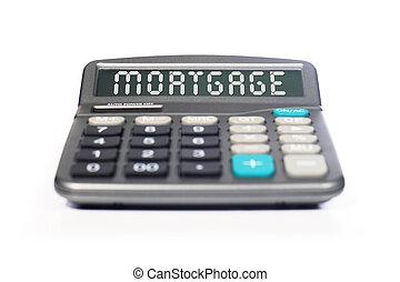 Calculadora de hipoteca aislada sobre el blanco