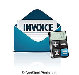 calculadora, moderno, factura