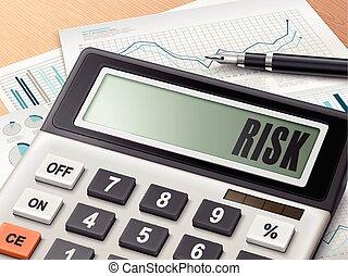 calculadora, riesgo, palabra