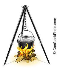 caldera, negro, campfire, trípode