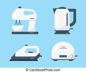 caldera, toaster., batidora, blanco, hierro
