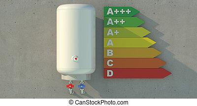 caldera, wall., 3d, energía, eficiencia, gráfico, agua, concreto, calentador eléctrico, ilustración