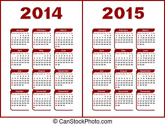 Calendar 2014, 2015