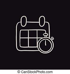 Calendar y cronómetro de croquis.