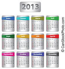 calendario, 2013, español