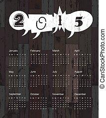 Calendario 2015 en antecedentes de madera. Vector