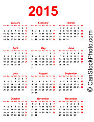 calendario, 2015