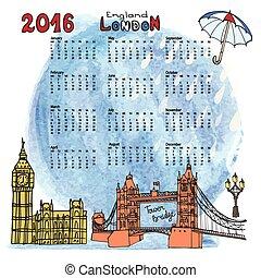 Calendario 2016. Londres. Landmarks panorama, acuarela