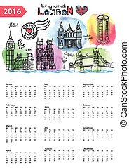Calendario 2016. Puntos fijos de Londres, salpicaduras de agua