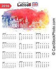 Calendario 2016. Puntos fijos en Londres, panorama, acuarela