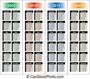Calendario de 2009-2012 años.