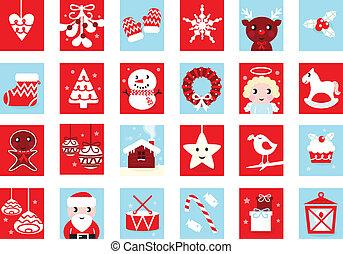 Calendario de aventuras, iconos de Navidad retro aislados en blanco