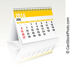 Calendario de escritorio de julio de 2014