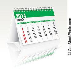 Calendario de escritorio de marzo 2014
