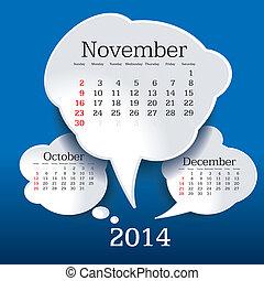 Calendario de noviembre de 2014