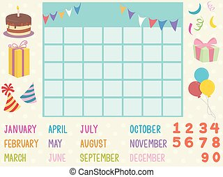 calendario, elementos, ilustración, cumpleaños