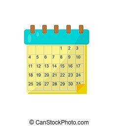 Calendario en un fondo blanco. Ilustración de vectores