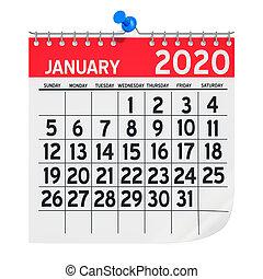 calendario, interpretación, enero, 2020, pared, mensualmente, 3d