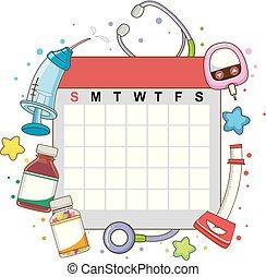 Calendario mensual chequea ilustraciones