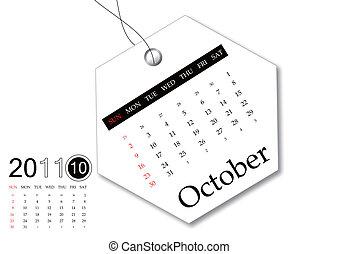 calendario, octubre, 2011