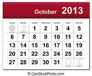 calendario, octubre, 2013